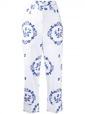 Укороченные брюки с цветочной вышивкой Simone Rocha. Цвет: белый
