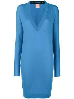 Платье-свитер с V-образной горловиной Nude. Цвет: синий