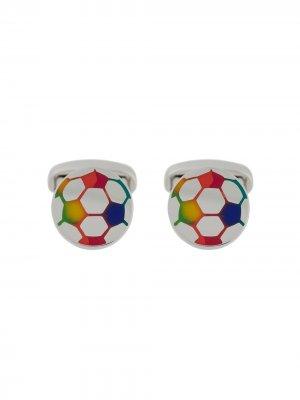 Эмалированные запонки в форме футбольных мячей Paul Smith. Цвет: золотистый