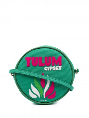 Круглая сумка на плечо Tulum Olympia Le-Tan. Цвет: зеленый