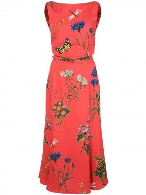 Платье с цветочным принтом Oscar de la Renta. Цвет: красный