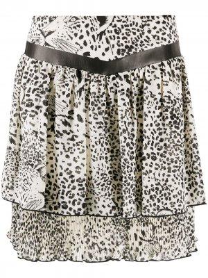 Расклешенная юбка с леопардовым принтом LIU JO. Цвет: белый
