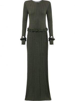Трикотажное платье фактурной вязки Dion Lee. Цвет: зеленый