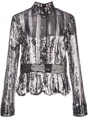 Блузка металлик Derek Lam 10 Crosby. Цвет: черный