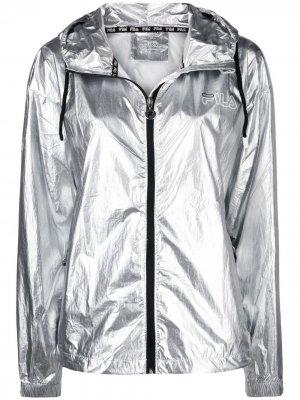 Куртка с капюшоном и эффектом металлик Fila. Цвет: серебристый