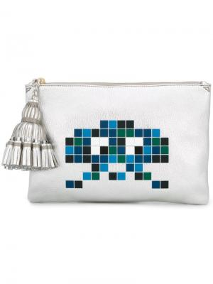 Клатч Space Invaders Anya Hindmarch. Цвет: металлик
