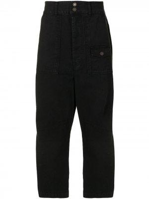 Зауженные брюки с завышенной посадкой SONGZIO. Цвет: черный