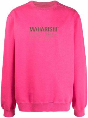 Толстовка с круглым вырезом и логотипом Maharishi. Цвет: розовый