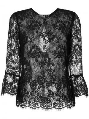 Прозрачная кружевная блуза Monique Lhuillier. Цвет: чёрный
