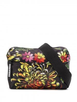 Поясная сумка с цветочным принтом Dsquared2. Цвет: черный