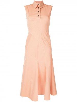 Платье-рубашка без рукавов со вставкой Cédric Charlier. Цвет: розовый