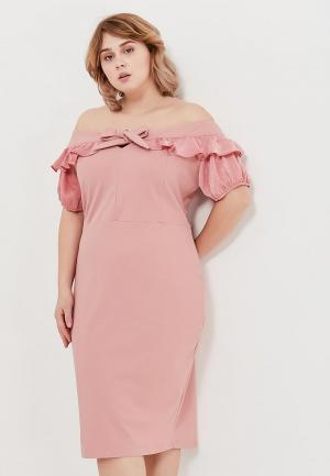 Платье Lost Ink Plus. Цвет: розовый