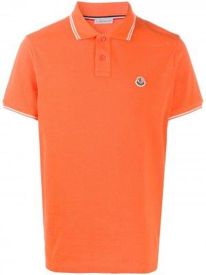 Рубашка-поло с вышитым логотипом Moncler. Цвет: оранжевый