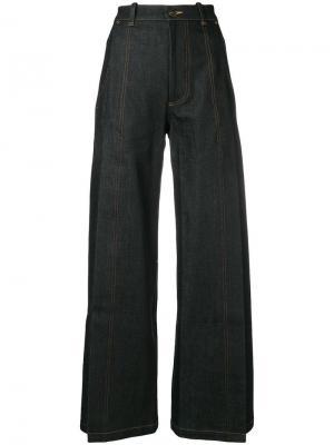 Широкие джинсы с разрезами Vaquera. Цвет: синий