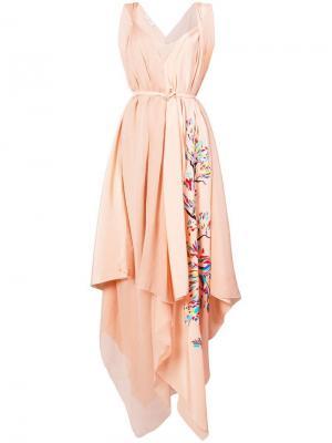 Платье с асимметричным краем Vionnet. Цвет: розовый