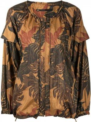 Блузка с цветочным принтом Muller Of Yoshiokubo. Цвет: коричневый