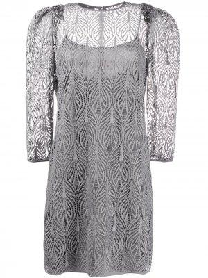Кружевное платье с длинными рукавами Alberta Ferretti. Цвет: серый
