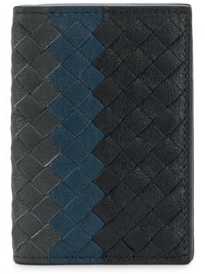 Бумажник с плетением Bottega Veneta. Цвет: синий