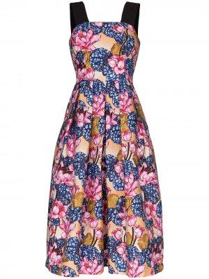 Платье миди Crystal с цветочным принтом Mary Katrantzou. Цвет: розовый