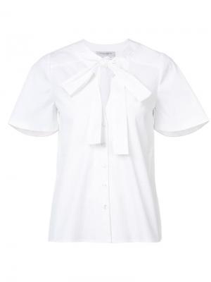 Блузка с завязками на шее и застежкой пуговицы Carolina Herrera. Цвет: белый