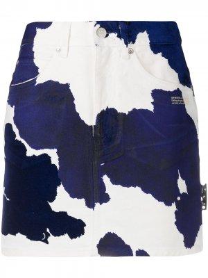 Джинсовая юбка с принтом Off-White. Цвет: синий