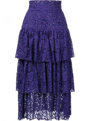 Ярусная юбка миди Bambah. Цвет: фиолетовый