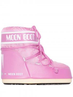 Дутые ботинки на плоской подошве Moon Boot. Цвет: розовый