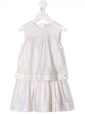 Комплект из юбка и топа с кружевом Lili Gaufrette. Цвет: золотистый