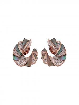 Серьги Mogra из розового золота с камнями Ananya. Цвет: розовый
