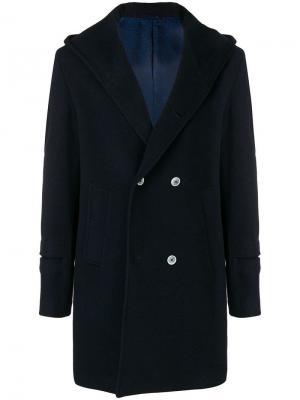 Двубортное пальто с капюшоном Daniele Alessandrini. Цвет: синий