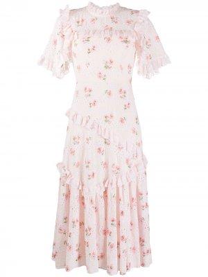 Платье асимметричного кроя с оборками Needle & Thread. Цвет: розовый