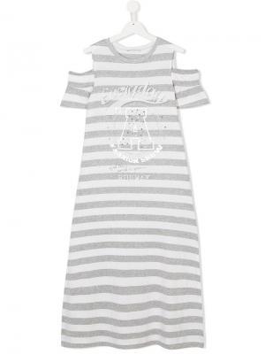 Платье-футболка в полоску с отделкой стразами и заклепками Elsy. Цвет: белый
