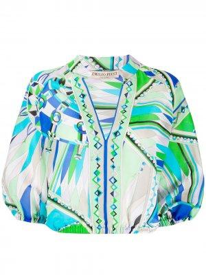 Пляжная блузка Bes с принтом Emilio Pucci. Цвет: зеленый