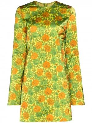 MarquesAlmeida платье мини с цветочным принтом и круглым вырезом Marques'Almeida. Цвет: зеленый